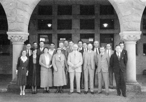 Ellwood Patterson Cubberley (center front), first dean of the School of Education, poses with faculty in the Main Quad, where the School of Education was originally housed before the new building was dedicated in 1938