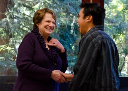 Judy Avery chats in 2011 with STEP student Marc Hua, MA '11, who now teaches at Oakland's Life Academy High School.Christopher Wesselman
