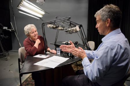 "Dean Dan Schwartz talks in February 2017 with Prof. Rachel Lotan, director emerita of STEP, on ""School's In,"" the GSE's new Stanford Radio program on SiriusXM."