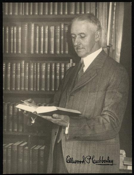 Ellwood P. Cubberley with titles in the Riverside Textbooks in Education series he wrote and edited.Stanford University Archives