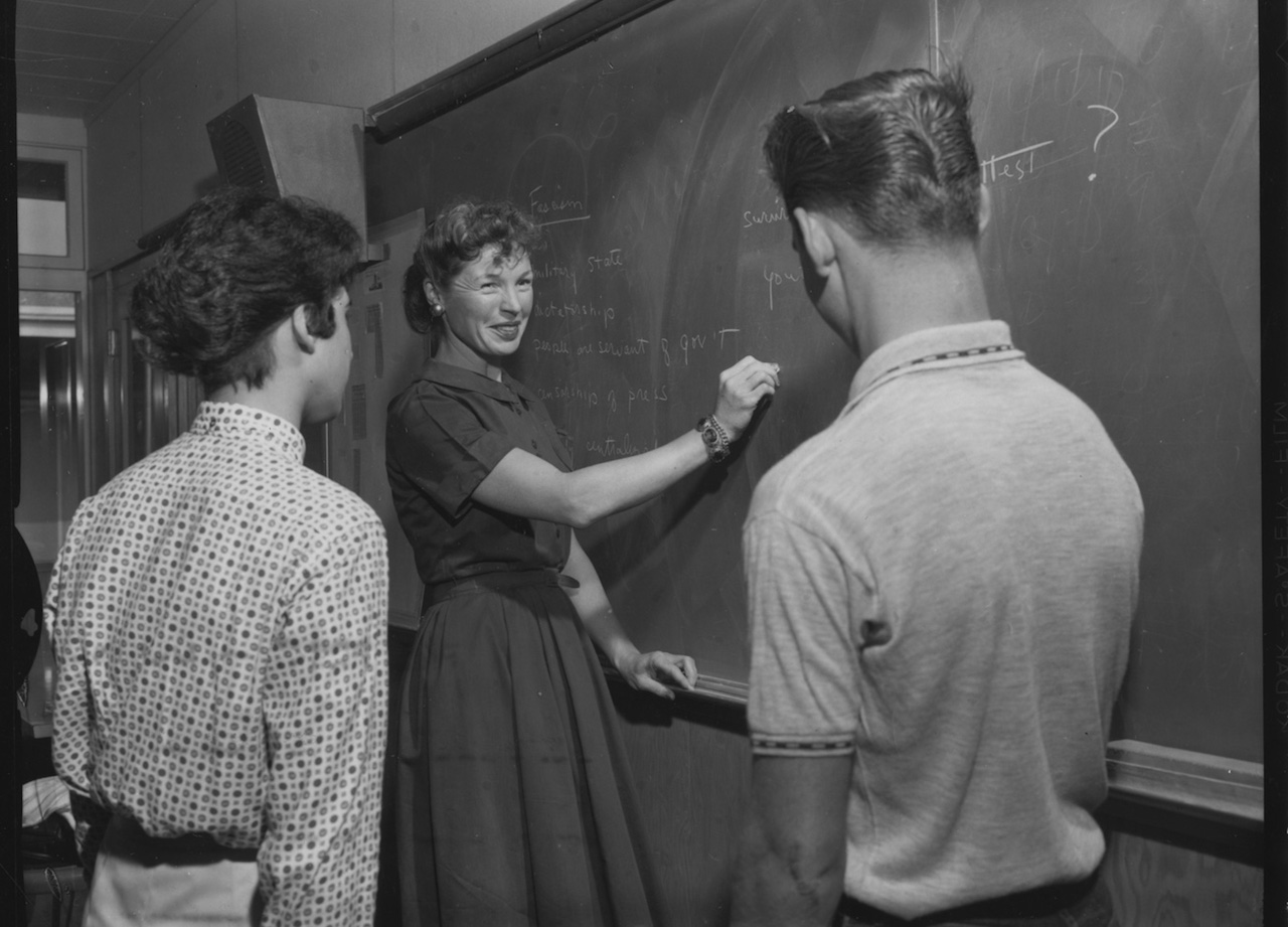 Mary Paulsen, MA '60, teaches a lesson in Cold War civics while in the inaugural cohort of the Stanford Teacher Education Program.Stanford News Service