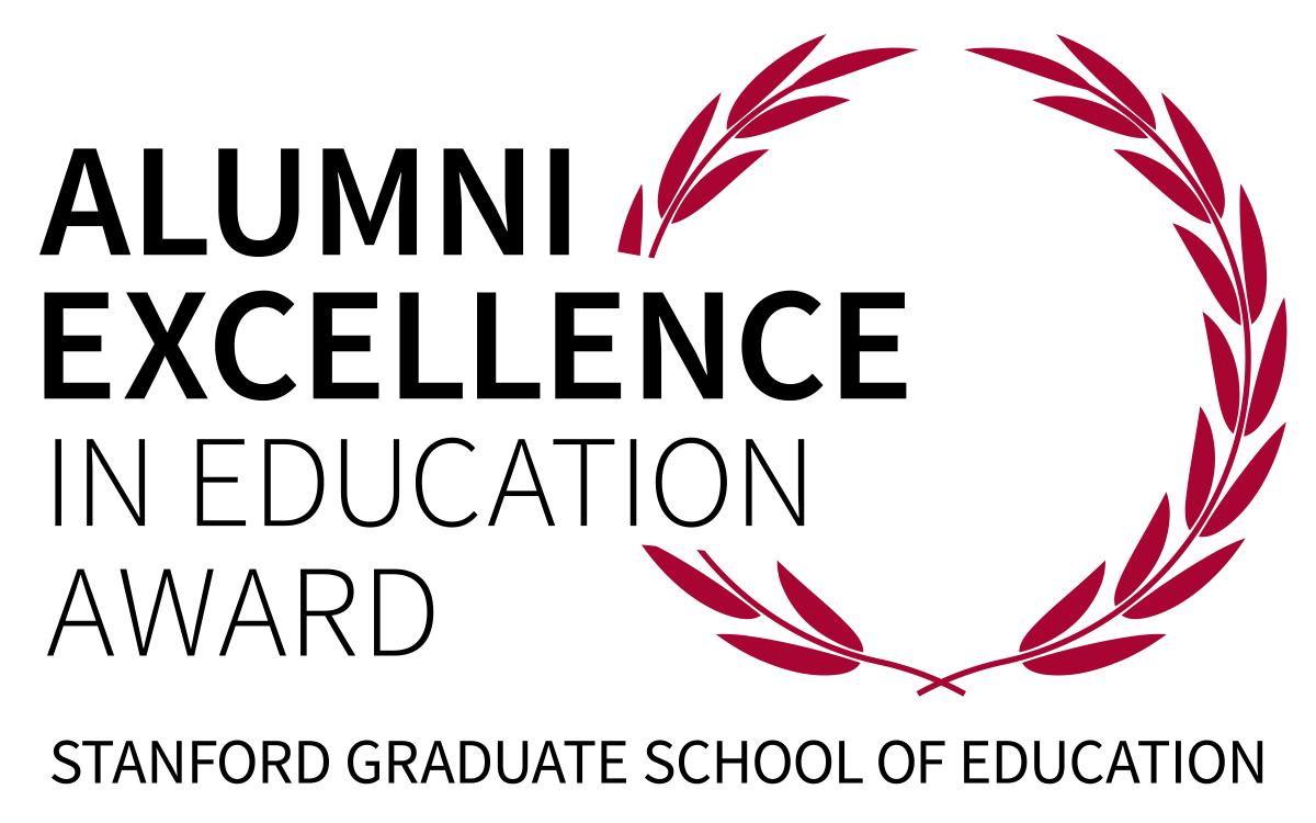 Red wreath surrounding the words Alumni Excellence in Education Award. Along the bottom the words Stanford Graduate School of Education