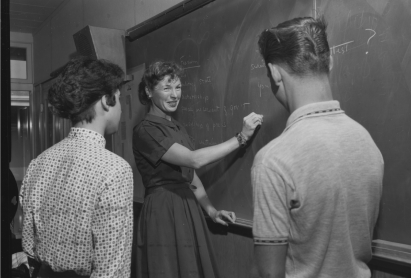Mary Paulsen, MA �60, teaches a lesson in Cold War civics�while in the inaugural cohort of the Stanford Teacher Education Program. She taught for decades at Palo Alto's Cubberley High School.