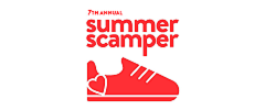 The words 7th Annual Summer Scamper with a red shoe and a heart